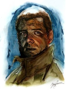 Harrison Ford in Blade Runner. Deckard. Oil painting and Ink by Kreg Franco