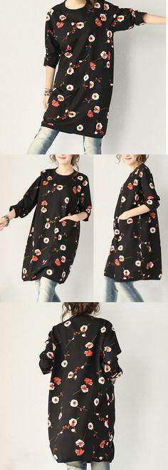 Stretch Cotton Print Loose Thick Dress