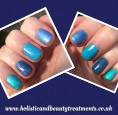 Gorgeous CND Blues with and without glitter. For details of colours used visit http://holisticandbeautytreatments.co.uk/cnd-shellac/cnd-shellac-blues/