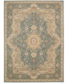 """kathy ireland Home Antiquities Imperial Garden Slate Blue 7'10"""" x 10'10"""" Area Rug $1999 .5 pile height"""