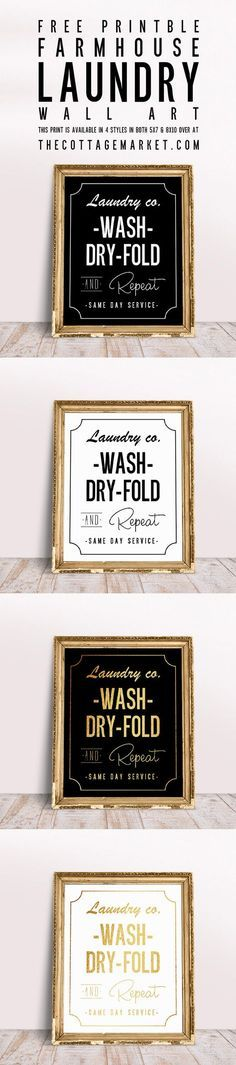Free Printable Farmhouse Laundry Wall Art | Curated pins by @4vector