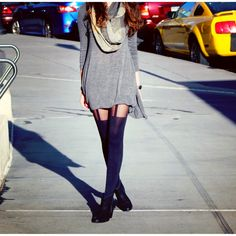 Cute winter street style outfit garter tights