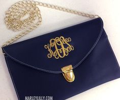 Monogrammed Navy Luxe Cross Body Clutch. In either Navy, Hot Pink , Brown or Black. Prefer Navy or Hot Pink
