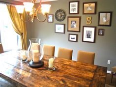 Love this collage look with the initial in the dining room.