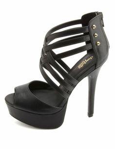 Crisscrossing Strappy Studded Platform Heels: Charlotte Russe