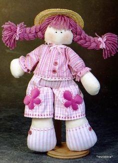 Muñeca de trapo con trenzas