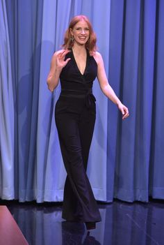 "Jessica Chastain Photos - Jessica Chastain Visits ""The Tonight Show Starring Jimmy Fallon"" at Rockefeller Center on October 2015 in New York City. - Jessica Chastain Visits 'The Tonight Show Starring Jimmy Fallon' Beautiful Redhead, Most Beautiful Women, Red Hair Inspiration, Fashion Inspiration, Jessica Chastain, Jimmy Fallon, Halston Heritage, Hollywood Celebrities, Black Jumpsuit"