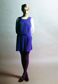 twiggy in what looks remarkably like a school pinafore (but much cooler)