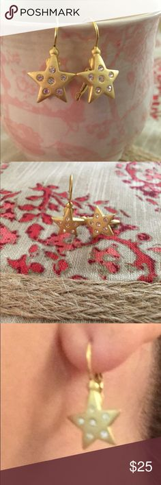 Star  earrings Brushed gold plated star earrings with rhinestones. So delicate on.  Jewelry Earrings