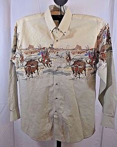 621f3d0485ce Looney Tunes Western Collection by Karman Bugs Bunny LS Ivory Cotton USA  1994