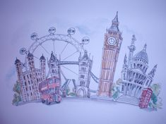 Pen and watercolor, watercolour painting, london landmarks, london art, wed London Drawing, Original Paintings, Original Art, Pen And Watercolor, Watercolour Painting, London Landmarks, London Art, Deco, Art Drawings