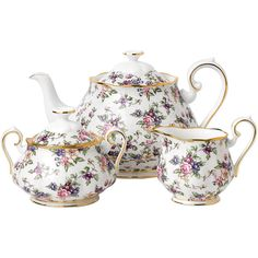 Royal Albert 100 Years Tea Set - 3 Piece - 1940 English Chintz (£130) ❤ liked on Polyvore featuring home, kitchen & dining, teapots, pink, royal albert tea pot, pink tea pot, english teapot, english rose tea set and pink teapot