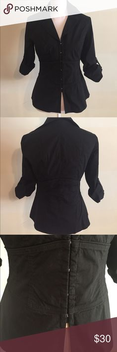 Lafayette 148 NY black blouse Lafayette 148 NY black blouse. Hook closure. Fitted waist. Size 4. Excellent condition! Lafayette 148 New York Tops Blouses