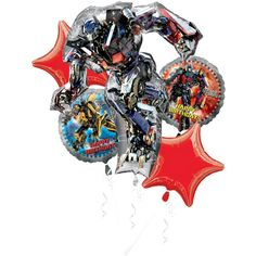 """Transformers Dark of the Moon - 5 Balloon """"Happy Birthday"""" Bouquet Featuring Optimus Prime and Bumble Bee"""