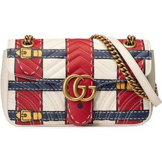 Gucci GG Marmont Trompe l'oeil shoulder bag ($2,400) ❤ liked on Polyvore featuring bags, handbags, shoulder bags, red, red handbags, quilted leather shoulder bag, chain shoulder bag, leather purses and gucci shoulder bag