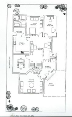 Simple House Plans, New House Plans, Modern House Plans, House Floor Design, Duplex House Design, House Layout Plans, House Layouts, 5 Marla House Plan, Modern Small House Design