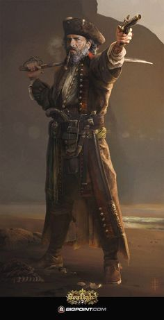"""Wild Sea Pirate by Eve Ventrue. ArtStation Character artwork for Bigpoint and their Online Game """"Seafight"""" Sea Pirates, Pirates Cove, Pirates Of The Caribbean, Pirate Art, Pirate Life, Pirate Ships, Pirate Crafts, Pirate Skull, Eve Ventrue"""