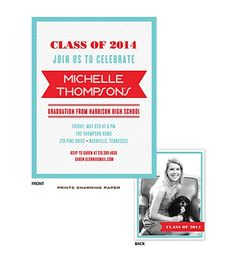 Class of 2014 Graduate Prints Charming Paper Aqua on Grey Diagonal Stripes Digital Photo Graduation Announcement