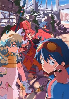 Just a few of the wonderful illustrations and key visuals for Tengen Toppa Gurren Lagann by character designer Atsushi Nishigori. The top illustration is the cover art for Gurren Lagann Art Works, which is getting a US release this year!