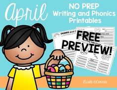 FREE April Writing and Phonics printables! 5 fun activities for lower elementary!