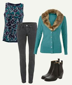 Cabi Fall 2015 Warhol Top, Tea Room Cardigan and Pitch skinnies. Love!
