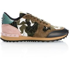 Valentino Kaki Camustars Rockrunner Sneakers (€680) ❤ liked on Polyvore featuring shoes, sneakers, studded sneakers, camouflage sneakers, star shoes, camo sneakers and leather studded sneakers
