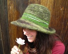 Handknit Felted Forest Green Hat With Wide Brim