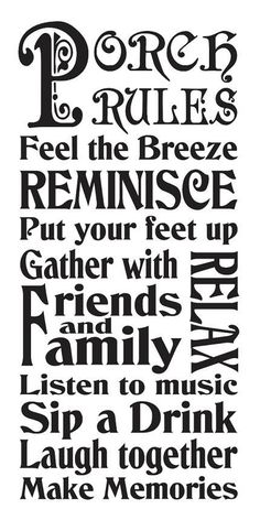 """Primitive STENCIL**PORCH RULES**Typography Subway for Signs Large 12""""x 24"""""""