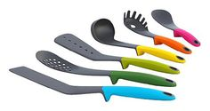 Joseph Joseph Elevate Utensil Set – Features weighted handles that elevate the tips of the utensils so they don't touch your counter top. This eliminates mess and improves hygiene. Set of 6 utensils. Cooking Utensils, Cooking Tools, Cooking Gadgets, Cooking Ware, Cooking Stuff, Camping Cooking, Serving Utensils, Cooking Bacon, Cooking Chef