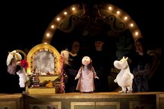 Snorkmaiden, Misabel and Emma in the floating theatre