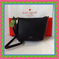 "♠️Authentic Kate Spade Black Leather Handbag♠️ % AUTHENTIC✨ Beautiful and softest black pebbled leather handbag from Kate Spade♠️ Lightweight & very spacious. Length 13 1/2"" Height 9"" Width 5"" with adjustable long strap. You can do crossbody and shoulder bag. Beautiful zipper pull tassel Yellow gold tone hardware Inside pocket✨ NO TRADE  FINAL PRICE kate spade Bags Shoulder Bags"