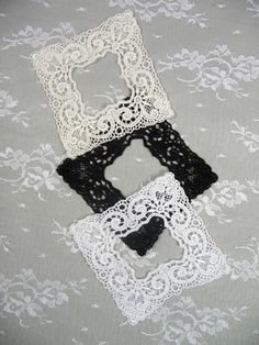 Lace Picture Frame Applique Black for Crafts Photo by TheSwanPond