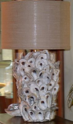 Items similar to Oyster Shell Lamp w/ Burlap Drum Shade on Etsy Seashell Art, Seashell Crafts, Beach Crafts, Diy Crafts, Oyster Shell Crafts, Oyster Shells, Sea Shells, Shell Lamp, Seashell Projects
