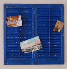 The blue shutters were a $3.00 find at my local Habitat for Humanity ReStore. (for my office!)