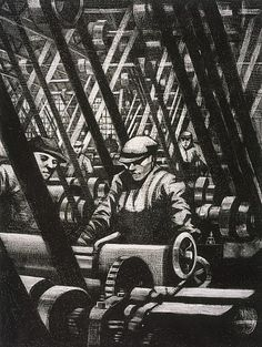 C.R.W Nevinson Building Aircraft: Making the Engine (from the series 'The Great War: Britain's Efforts and Ideals') 1917