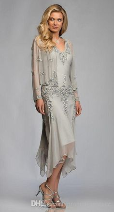 Silver Tea Length Handkerchief Mother of the Bride Dress with Jacket V Neck Sheer Long Sleeve Beaded Chiffon Formal Dresses for Mature Women Mother Of Groom Dresses, Bride Groom Dress, Mothers Dresses, Mother Of The Bride Dresses Knee Length, Mother Of The Bride Dresses Vintage, Bride Gowns, Mother Of The Groom Clothes, Wedding Dresses For Older Women, Long Mothers Dress