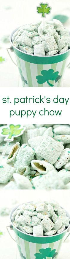 The BEST Easy St. Patrick's Day Desserts and Treats Recipes – Lucky Green Sweets for your Spring Holiday Party! Patrick's Day Puppy Chow Recipe via Gal on a Mission - The perfect green and minty snack! Beware, it's highly addictive and you will not be Oreo Dessert, Dessert Recipes, Fudge, Baileys Irish Cream, Mini Desserts, Green Desserts, Party Desserts, Holiday Treats, Holiday Recipes