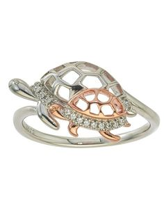 Ax Jewelry Diamond Turtle Ring In 10kt Rose Gold And Sterling Silver Rose  Gold Jewelry ec615f363570