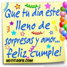 Tarjetas de cumpleaños virtuales con frases - Cumpleaños Club Happy Birthday In Spanish, Happy Birthday Wishes, Birthday Greetings, Happy B Day Images, Happy Day, Birthday Quotes, Holiday Cards, Birthdays, Facebook