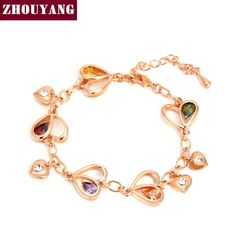 ZHOUYANG Top Quality ZYH015 Heart  Rose Gold Plated Bracelet JewelryGenuine  Austrian Crystal Wholesale Rose Gold color