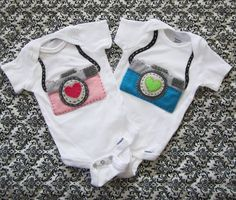 Custom Felt Camera Baby Onesie or shirt. $20.00, via Etsy.  -she could wear this when we go with daddy on his shoots!