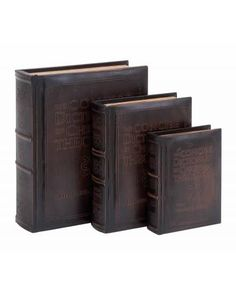 Antique Smooth Brown Leather Book Box Set In Dictionary of Theology Theme -  features smooth leather throughout for the perfect touch the sophisticated, both for your treasures, and for your décor. The cover features the book The Concise Dictionary of Christian Theology, chronicling 2000 years of Christian history. This book box set is perfectly made to be placed on the coffee table or fireplace mantle, but also useful to keep little secret items in the bedroom or the home office.