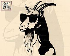 Goat Art, Head Tattoos, Svg Files For Cricut, Farm Animals, Logos, Vinyl Decals, Original Artwork, Capricorn, Silhouette