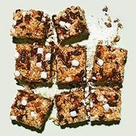 Coffee-Marshmallow Crispies with Chocolate, Cherries & Almonds.   I grew up with coffee, rice cereal and tons of chocolate. How can this not be delish?