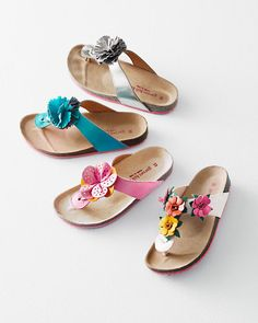Girls' Embellished Leather Thong Sandals, Sizes 10-4