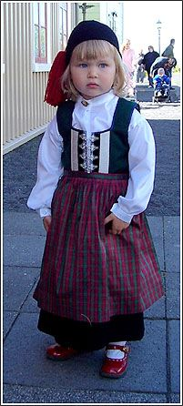 Icelandic girl wearing the icelandic nationalgown , old style