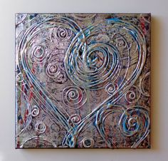 Abstract Heart Painting Acrylic on Canvas 12x12  Anniversary New Baby Gift OOAK Heather Montgomery Art