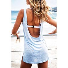 Shop Sleeveless Open Back Beach Dress online. SheIn offers Sleeveless Open Back Beach Dress & more to fit your fashionable needs. Sabo Skirt, Tee Dress, Slit Dress, Bodycon Dress, Casual Summer Dresses, Summer Outfits, Beach Outfits, Sammy Dress, Up Girl