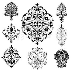 Damask Ornaments Royalty Free Stock Vector Art Illustration