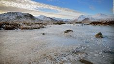 A frozen view of Lochan na h-Achlaise on Wednesday, December 12, in Rannoch Moor, United Kingdom. Ice and fog spread across the United Kingdom on Wednesday with temperatures reaching -6 degrees Celsius (21.2 degrees Farenheit) in some parts of the country, according to the Met Office.